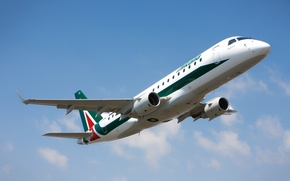 Picture Italy, the rise, Embraer, Airport, the sky, E175, Alitalia, the plane, clouds