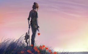 Wallpaper flowers, weapons, art, red, glade, water, girl, Maki, grass, river, machine