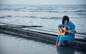 Picture sea, girl, guitar, pier, Asian
