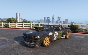 Picture black, the fence, Mustang, Ford, skyscrapers, the bushes, 1965, GTA 5, Hoonicorn