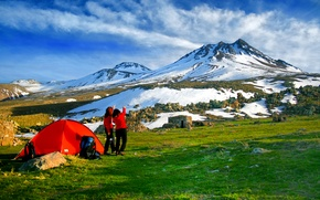 Picture mountain, tents, highland, camping.volcan