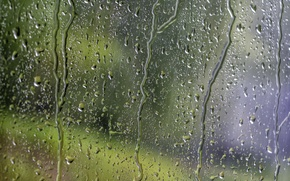 Picture glass, water, drops, surface, background