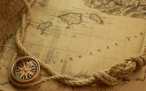 Picture map, rope, compass