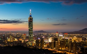 Picture sunset, the city, lights, view, building, skyscraper, the evening, panorama, Taiwan, Taipei, Taiwan, The Republic ...