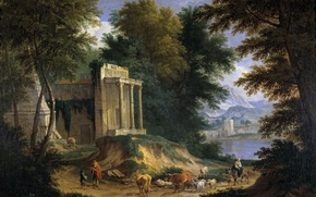 Picture sea, trees, mountains, picture, the ruins, Adrian Frans Boudewyns, Landscape with Ruins
