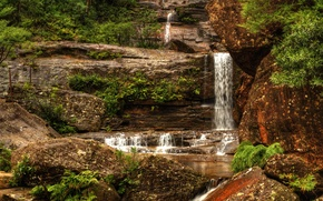 Picture stones, waterfall, Australia, the bushes, Wentworth Falls