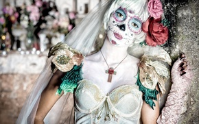 Wallpaper flowers, paint, girl, face, day of the dead, day of the dead