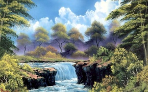 Picture forest, the sky, clouds, landscape, branches, waterfall, picture, painting, the bushes, Bob Ross, river trees, …