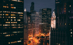 Wallpaper night, the city, lights, building, USA