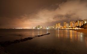 Picture night, building, Hawaii, promenade, Hawaii, night, Honolulu, Honolulu city