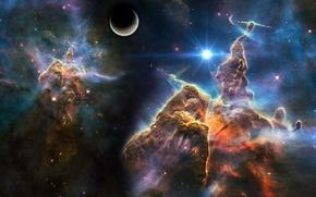 Wallpaper space, stars, nebula, planet, space, universe, nebula, art, stars, planet