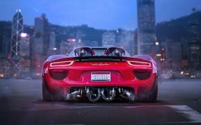 Picture Porsche, Red, 918, Tuning, Future, Supercar, by Khyzyl Saleem, Bisi