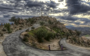 Picture road, the sky, clouds, children, cross, hill, hdr, USA, Los Angeles, California