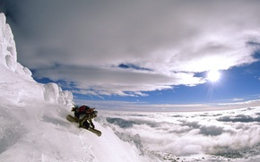 Picture the sun, clouds, snow, mountains, Snowboard
