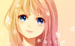 Picture girl, flowers, smile, anime, art, seishiki
