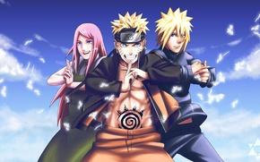Wallpaper Family, Naruto, Uzumaki, Minato, Kushina, Uzumaki, Minato, Print, Namikaze
