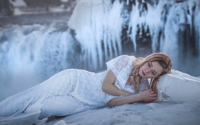 Picture winter, girl, model, waterfall, ice, dress, frost, Iceland