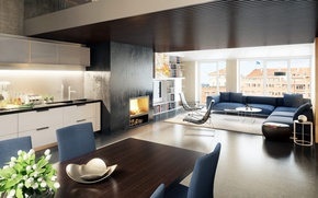 Picture interior, kitchen, fireplace, living room, dining room