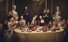 Picture girl, cleavage, dress, France, food, man, candles, necklace, Outlander, oppai, powerful, fan, French, hatred, TV …