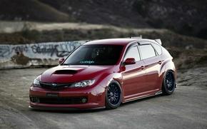 Picture tuning, turbo, wheels, subaru, japan, wrx, impreza, jdm, tuning, power, front, Subaru, sti, face, low, ...