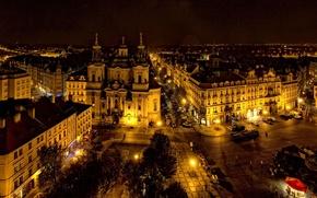 Picture historical, beautiful, old town square, backlight., located, osveshenia, the city, center, Prague, Czech Republic, Praga, …