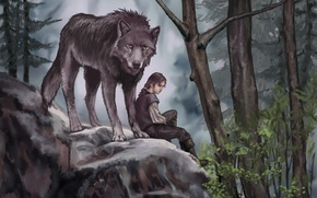 Picture animal, predator, art, wolf, trees, painting, Game of Thrones, leaves, Arya Stark, Nymeria, forest