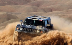 Wallpaper Sand, Black, Sport, Race, Rally, Dakar, SUV, The front, Hammer