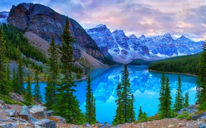 Picture forest, trees, mountains, lake, stones, rocks, Canada, Banff National Park, Canada, Banff, Moraine