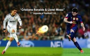 Picture wallpaper, sport, Cristiano Ronaldo, football, Lionel Messi, legends, FC Barcelona, Real Madrid CF, players