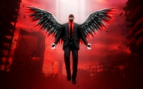 Picture the city, Apocalypse, wings, monster, angel, the demon, evil, ruins, fallen