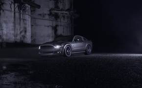 Wallpaper Car, Muscle, Nigth, Ligth, Dark, Grey, Front, Wheels, Velgen, Mustang, Ford