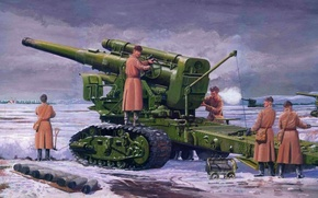 Picture large, Soviet, battle., howitzer, caliber, leads, 4 mm, B-4, 203, 8 inch, calculation, power