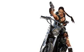 Picture girl, blood, guns, minimalism, motorcycle, Tomb Raider, Lara Croft