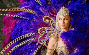 Picture girl, decoration, feathers, outfit, carnival
