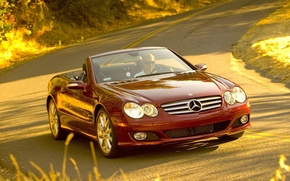 Picture road, auto, machine, girls, cars, the wheel, Mercedes, mercedes sl 550 widescreen
