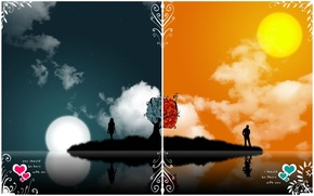 Picture love, night, Vector, day, opposites