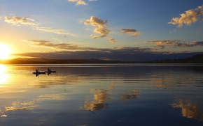 Picture lake, sunrise, hills, morning, quiet