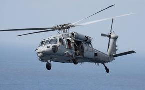 Picture sea, helicopter, machine gun, MH-60S