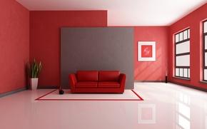 Picture room, sofa, plant, Windows, vase