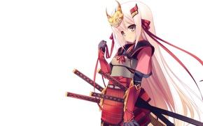 Picture katana, armor, mask, samurai, white background, horns, baby, red ribbon, wakizashi, long white hair