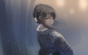 Picture girl, smile, anime, art, kimono, kikivi