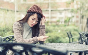Picture girl, Asian, cap, sweater