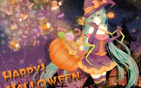 Wallpaper miku, holiday, girl, halloween, hatsune, vocaloid