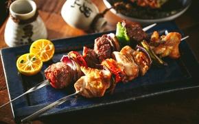 Picture lemon, meat, vegetables, kebab