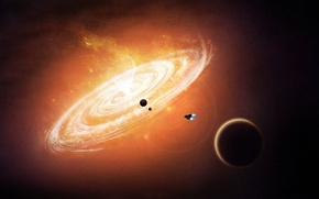 Picture SHIP, PLANET, GALAXY, STARS, SPACE