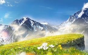 Picture the sky, clouds, flowers, mountains, art