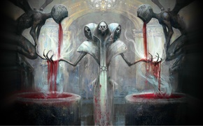 Picture death, blood, skeleton, skull, the altar, sacrifice, Magic the Gathering