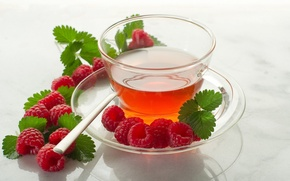 Picture raspberry, tea, spoon, Cup