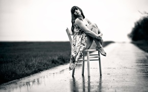 Picture road, girl, overcast, chair