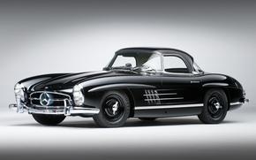 Picture black, Mercedes-Benz, classic, Mercedes, the front, 1957, beautiful car, 300сл, 300SL